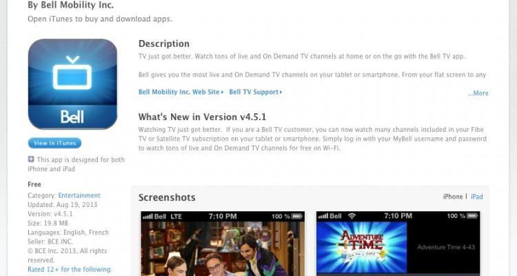Bell Mobile TV App - Vennetics
